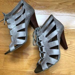 BGBG grey metallic lace-up heels